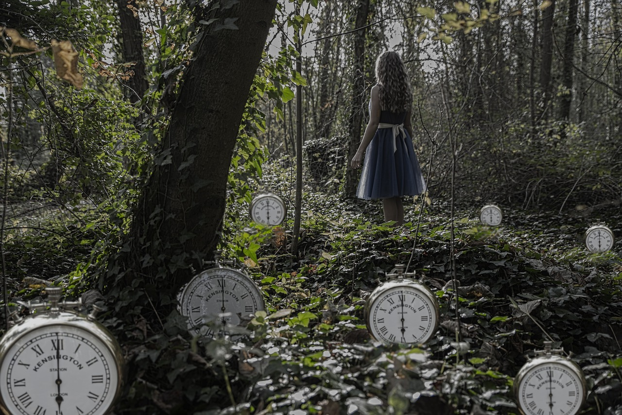 woman in a forest with clocks